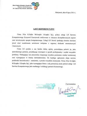 List referencyjny 3G s.c.